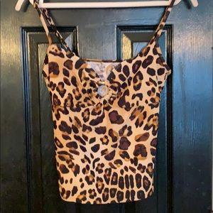 Chaps cheetah swimsuit tankini top 10
